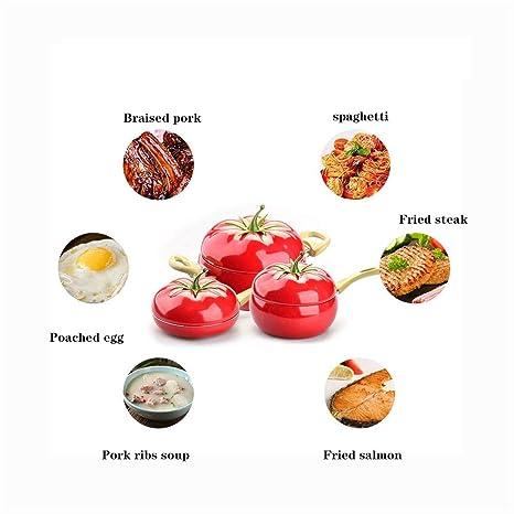ZCF Creativo de fondo plano sartén antiadherente, olla, olla, cocina de inducción, universal, 20 cm, tipo de fruta, tomate, antiadherente, olla, olla, sopa, ...