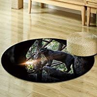 Non Slip Kids Carpet Round Area Rugs Mat,Bedroom Carpet Circular Carpet Machine Washable Rugs Mat,Round Mats&Home Carpet For Room decoration-Multi- Round 23.6(the Black Panther in zoo)