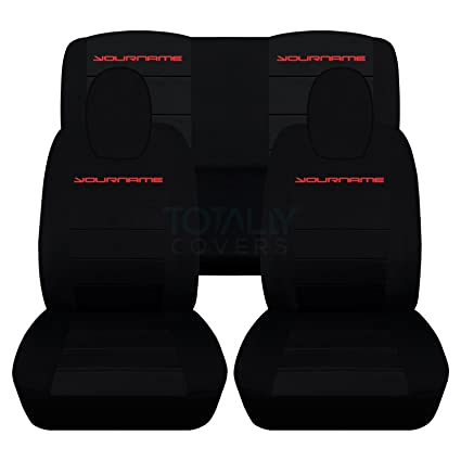Designcovers 2010 2015 Chevy Camaro Black Seat Covers Your Name Text Red