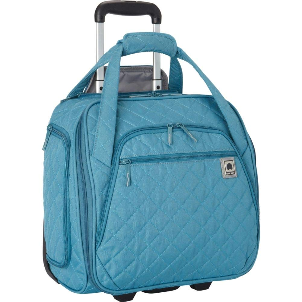 Delsey Quilted Rolling Underseat Bag For Carry-On Fits Overhead & Under Airline Seat - (Teal) best personal item luggage