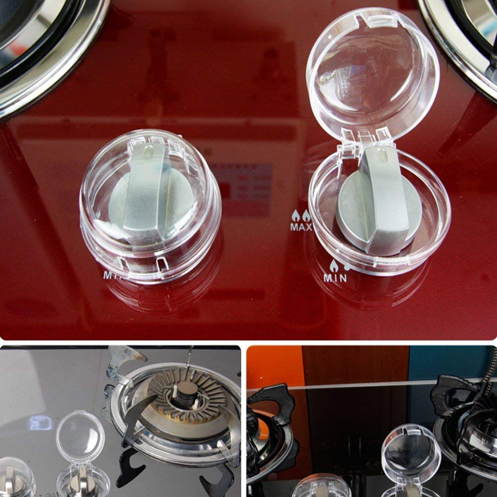 Kitchen Gas Stove Knob Covers Oven Knobs Protector Childsafety Locks for Baby Child Toddler Kitchen Safety (Clear,4 Pack)