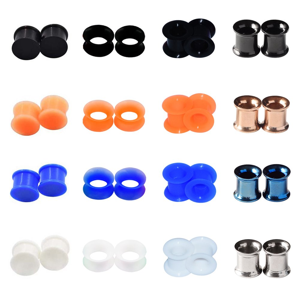 D&M Jewelry 32pcs 6g-7/8 Hollow Saddle Silicone & Stainless Steel Screw Ear Tunnels Plugs Stretcher Qianmin Co.Ltd WT270HSSIE04