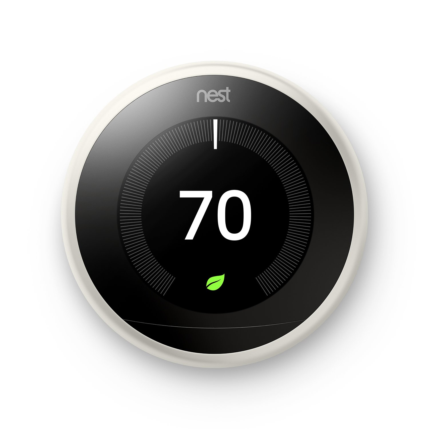 Nest T3017US Learning Thermostat, Easy Temperature Control for Every Room in Your House, White (Third Generation), Works with Alexa Small