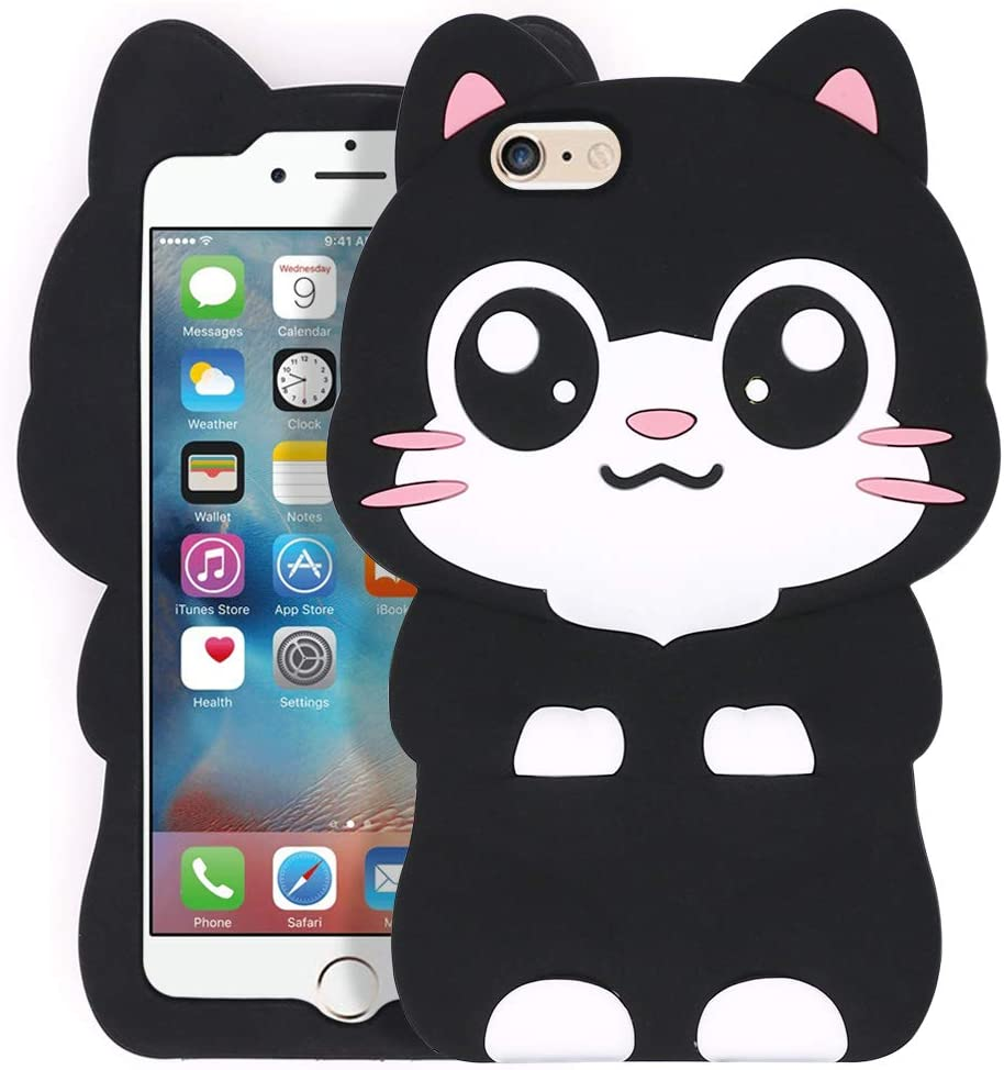 for iPhone 6 Case, iPhone 6S Case, BEFOSSON iPhone 6 /6S 3D Cartoon Kitty Kawaii Black Cute Cat Case for Girls/Teens/Boys/Kids, Funny Animal Soft Silicone Phone Cover Case for iPhone 6 6S (4.7 inches)