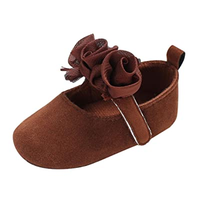 Voberry Baby's Girl's Crib Moccasins Soft Sole Toddler Flower Mary Jane Shoes