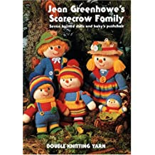 Jean Greenhowe's scarecrow family: Seven knitted dolls and baby's pushchair