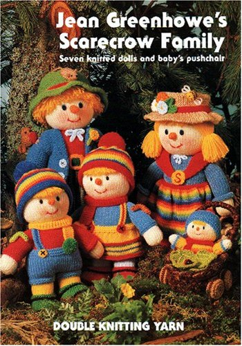 Family Cellars (Jean Greenhowe's scarecrow family: Seven knitted dolls and baby's pushchair)