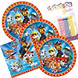 Paw Patrol Theme Plates and Napkins Serves 16 With Birthday Candles