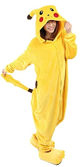 Très Chic Mayo Landa Unisex Adultos Traje de Dormir Carnaval Disfraz de Cosplay Animal Peluche Capucha Pikachu XL