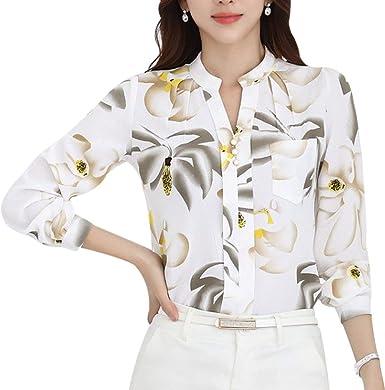 Mujer Blusas Primavera Verano Negocios Oficina Elegantes Moda Anchos Elegantes Basic Camisas Chiffon Blusa Camisa Manga Larga Patrón De Flores Impreso Camicia Bluse Top Ropa: Amazon.es: Ropa y accesorios
