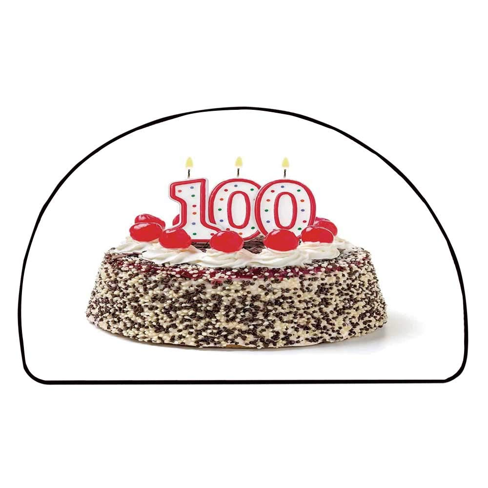 C COABALLA 100th Birthday Decorations Comfortable Semicircle Mat,Photo of Pastry Party Cake with Candles and Sprinkles Image for Living Room,11.8'' H x 23.6'' L