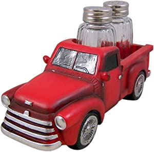 Vintage Style Red Truck Salt and Pepper Shaker Holder (Shakers Included), 7 1/4 Inch
