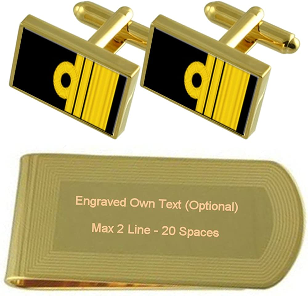 Royal Navy Insignia Rank Vice Admiral Gold-tone Cufflinks Money Clip Engraved Gift Set
