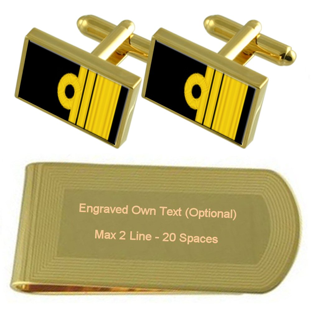 Royal Navy Insignia Rank Vice Admiral Gold-tone Cufflinks Money Clip Engraved Gift Set