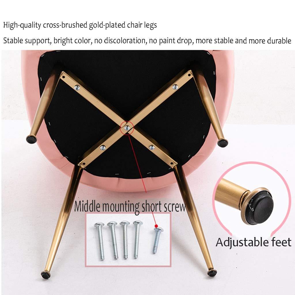HEJINXL Matstolar köksstol slitstark läder galvaniserad titan guldfötter universell justering fötter makeupstol dator arbetsstol fåtölj 2 st (färg: C) a