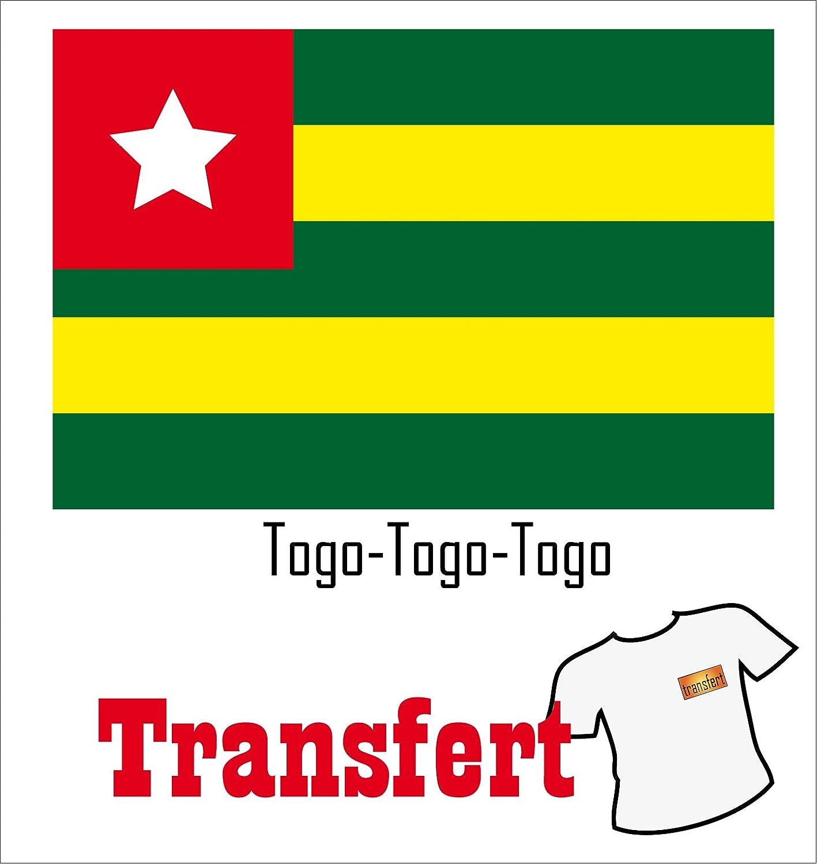 3 Transferts pour textile clair 25 x 40 mm Drapeau Togo
