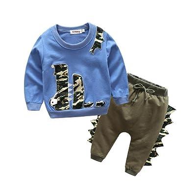 Kehen Infant Baby Boys 2pcs Spring Outfits Crocodile Print Long Sleeve T-Shirt Tops+Long Pants Sets
