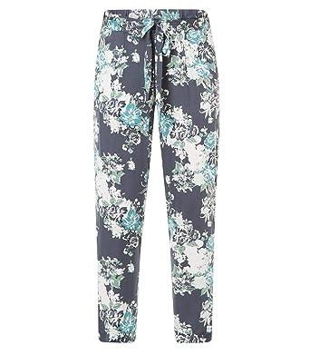 b59259e3c3 X-Two leichte Yesta Damen Sommerhose lang aus Viskose Blumenmuster Blau große  Größen, Hosengröße