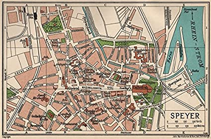 Amazon Com Speyer Vintage Town City Map Plan Germany 1933 Old