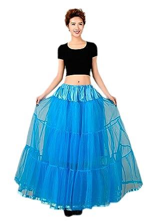 Honeystore Womens Ankle Length Petticoat Crinoline Underskirt for Long Dresses Blue