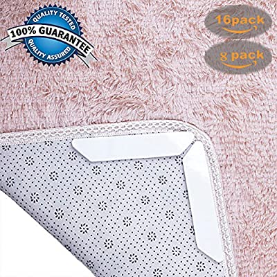 Rug Grippers by ZIZA for hardwood floors, tile, carpet -16PC +Ring Holder - 8PC +Fixate Gel Pad -QUALITY ASSURANCE- ANTI CURLING RUG GRIPPER, ANTI-SLIP RUG GRIPPERS, KEEPS CORNERS FLAT ON ANY SURFACE.