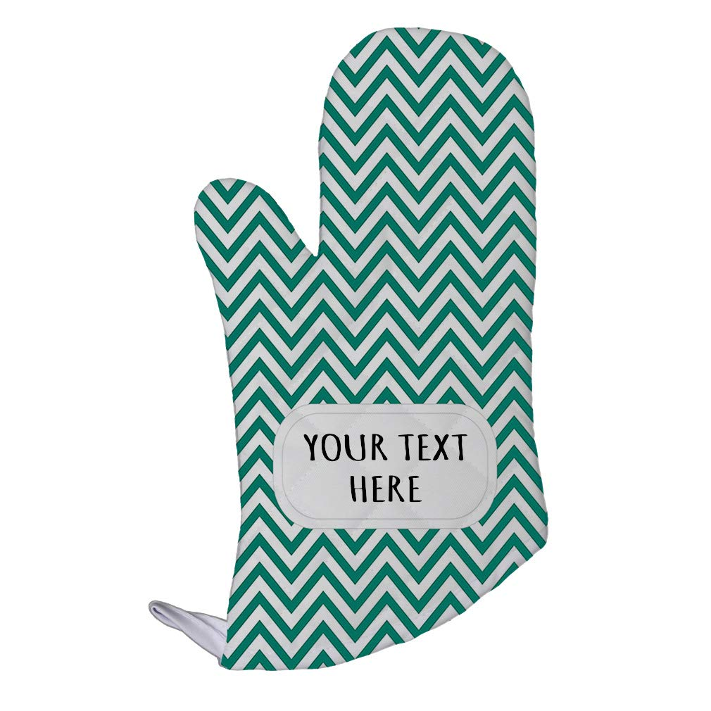 Style In Print Polyester Oven Mitt Custom Chevron 21 Pattern Green White Adults Kitchen Mittens