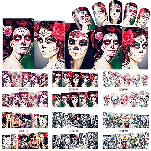 NICOLE DIARY 4 Sheets Halloween Nail Art Water Decal Colorful Skull Manicure Nail Art Transfer Stickers (4 patterns) (90s Halloween Films)