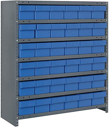 Closed Shelving Storage System With Euro Drawers Bin Color Blue Bin Dimensions 4 5 8 H X 5 9 16 W X 11 5 8 D Qty 36 Amazon Co Uk Office Products