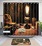 Unique Custom Bathroom 2-Piece Set Western Decor Mystic Night In Hotel Room Dallas With Lantern Nightstand Table And Poker Card Shower Curtains And Bath Mats Set, 79''Wx71''H & 31''Wx20''H