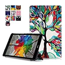 LG G Pad 3 8.0 Case, LG G Pad III 8.0 Case, Pasonomi® Ultra-Slim and Ultra-light PU Leather Folio Case Stand Cover for LG G Pad III/3 8.0 V525 2016 Released Tablet (Tree)
