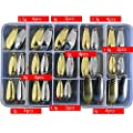 AGadget Fishing Spoons Metal Lures Kit 31PCS/Lot 1.5g-5g Small Size Hook with Tackle Box