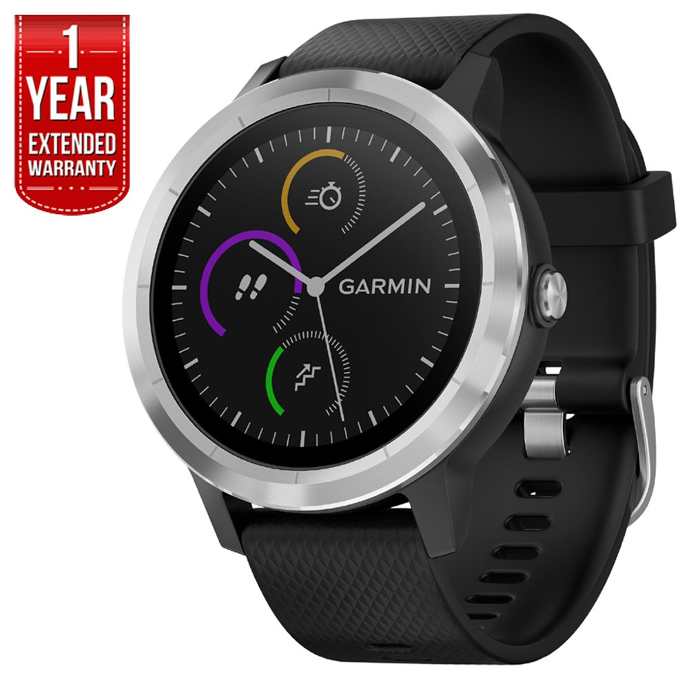 Garmin 010-01769-01 Vivoactive 3 GPS Fitness Smartwatch (Black & Stainless) + 1 year Extended Warranty by Beach Camera (Image #1)