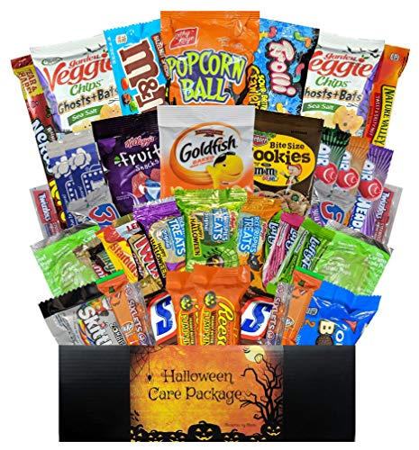 40 CT Halloween Care Package for College Students, Men, Women, Kids or Military - Variety Snack Pack Assortment of Candy, Chocolate, Crackers, Cookies and Snacks in Gift Box (Halloween 40 CT)