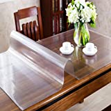 OstepDecor Custom 2.0mm Thick Frosted with Textured Finish Table Cover Protector for 8 Foot Table - 96 x 54 Inch Large Plastic Table Pad Rectangular PVC Tablecloth Kitchen Furniture Protective Cover
