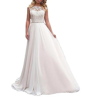 Vweil Vintage Vestido De Novia Long Chiffon Illusion Sheer Lace Bridal Wedding Dress with Cap Sleeve