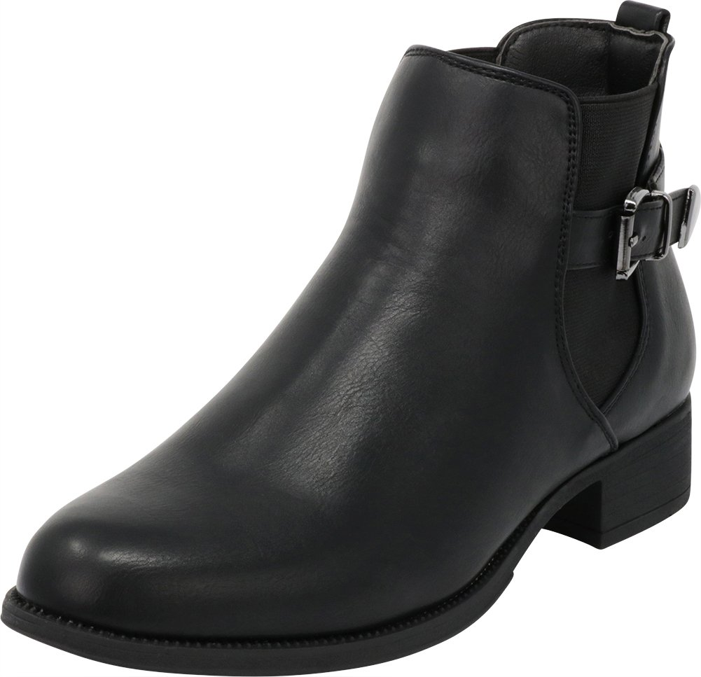 Cambridge Select Women's Closed Round Toe Stretch Buckle Strap Low Block Heel Chelsea Ankle Bootie,10 B(M) US,Black Pu