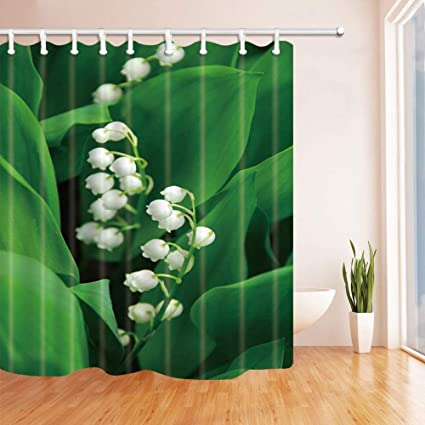 SZZWY Plant Decor Lily Of The Valley Shower Curtains Polyester Fabric Waterproof Bath Curtain 69X70 In