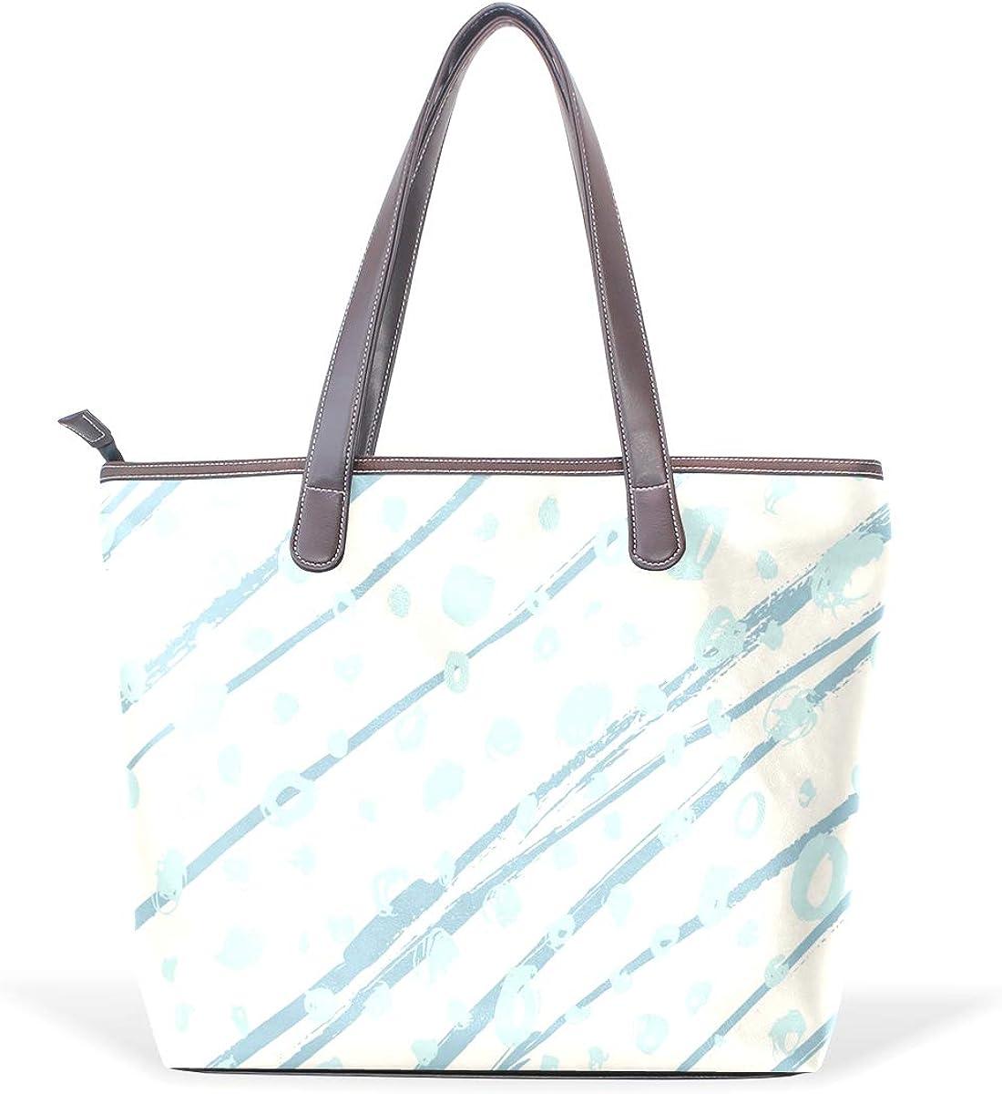 Blue And White Marble Pattern Womens Leather Handbag Shoulder Bag Satchel Handbags Leather Tote Purse Women Handle Handbags