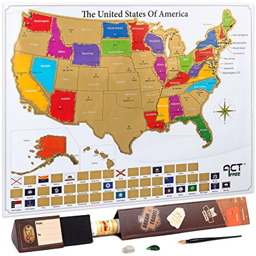 Scratch Off Map US State | 17x22.5in Large Premium US Map Scratch Off Travels Map Unique Gift Box Amazing Tools US State Poster Adventure Tracker Original Sticker Flags Top Quality Ebook by Act Free