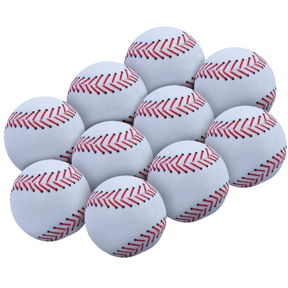 WOWMAX Toy 野球用ぬいぐるみ ふわふわ スポーツボール ソフト 耐久性 スポーツおもちゃ ギフト 子供用 3インチ ホワイト 10個セット   B07JPLJ1NP