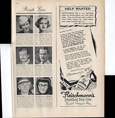 Fleischmann's Distilled Dry Gin The Real American Mixer Help Wanted Gentleman Who Is Particular About His Drinks 1937 Vintage Antique Advertisement