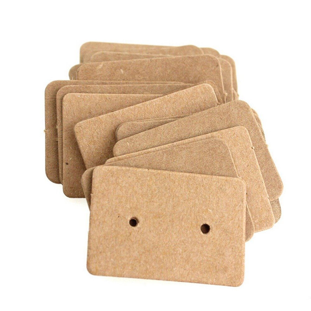AKOAK 100 Pcs 2.5 x 3.5 Cm Brown Kraft Paper Earring Display Hang Cards Ear Studs Display Hang Tag 4336834637