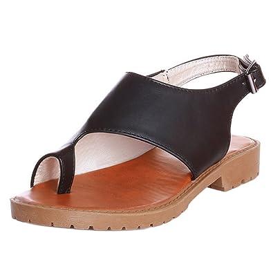 TAOFFEN Damen Flach Sandalen Sommer Schuhe  Black