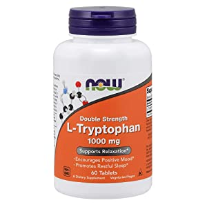 NOW Supplements, L-Tryptophan, Double Strength 1000 mg, 60 Tablets