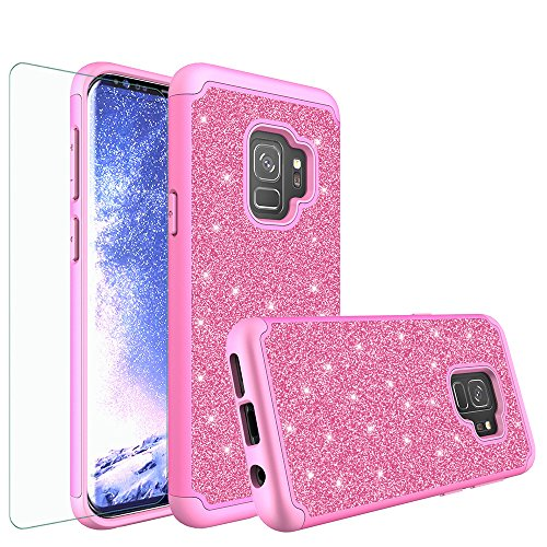 Galaxy S9 Plus Case, Samsung Galaxy S9 Plus Glitter Case with HD Screen Protector, Luxury Bling Cute Girls Women PC Silicone Leather Heavy Duty Protective Phone Cases for Galaxy S9 Plus (Hot (Hot Pink Protector Case)