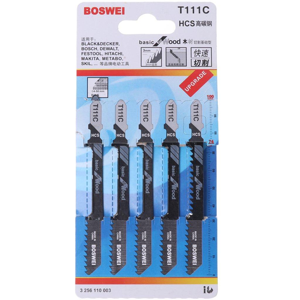 Exing 5 St/ück T111C 4 Zoll HCS T-Schaft Stichs/ägebl/ätter Set S/äbels/ägebl/ätter S/ägebl/ätter F/ür Holz PVC Kunststoff Schneiden