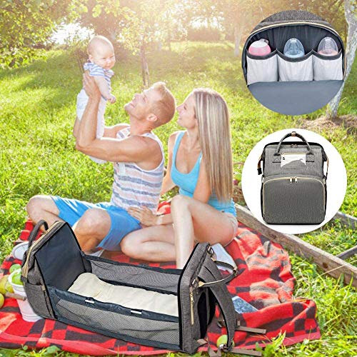 3 in 1 Portable Travel Bassinet Foldable Diaper Changing Station Mummy Bag with Toddler Lounger,Portable Crib Infant Sleeper for Newborn Baby
