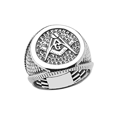 925 Sterling Silver Freemason Square and Compass Masonic Ring for Men