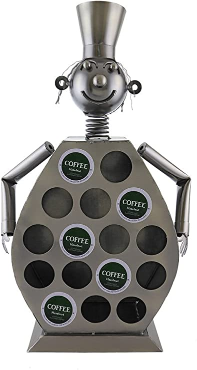 Ebros Large Professional Chef Kitchen Coffee Capsule Pod K-Cup Holder 20Tall Statue Hand Made Steel Caddy Rack