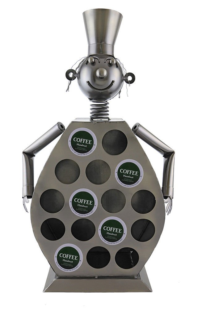 Ebros Large Professional Chef Kitchen Coffee Capsule Pod K-Cup Holder 20''Tall Statue Hand Made Steel Caddy Rack
